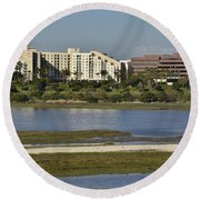 Newport Estuary Looking Across At Major Hotel And Businesses Round Beach Towel