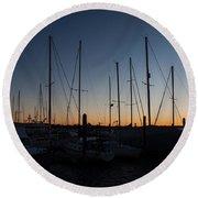 Newport Harbor Rhode Island Boats At Sunset Round Beach Towel