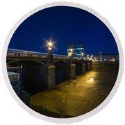 Newport Night Bridge  Round Beach Towel