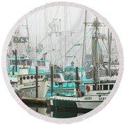 Newport, Oregon Fishing Fleet Round Beach Towel