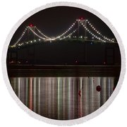 Newport Pell Bridge Round Beach Towel
