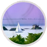Newport Water Color Effect Round Beach Towel