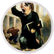 Newsboy Shouting, 1847 Round Beach Towel