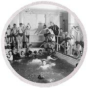 Newsboys Swimming 1900s Round Beach Towel