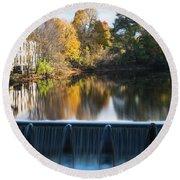 Newton Upper Falls Autumn Waterfall Reflection Round Beach Towel