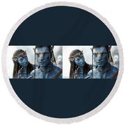 Neytiri And Jake - Gently Cross Your Eyes And Focus On The Middle Image Round Beach Towel