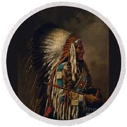 Nez Perce Chief Round Beach Towel by Edgar S Paxson