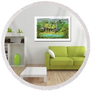 Home Decor With Tropical Palms Digital Painting Round Beach Towel