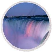 Niagara Falls At Dusk Round Beach Towel