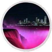 Niagara Falls At Night - Pink Round Beach Towel