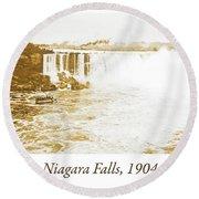 Niagara Falls Ferry Boat, 1904, Vintage Photograph Round Beach Towel