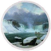 Niagara Falls Round Beach Towel by Hippolyte Victor Valentin Sebron