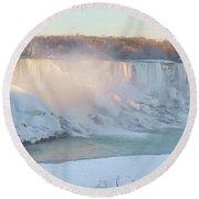 Niagara Falls In Wintertime Round Beach Towel