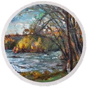 Niagara Falls Lake Round Beach Towel