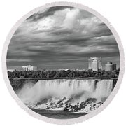Niagara Falls - The American Side 3 Bw Round Beach Towel