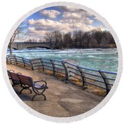 Niagara Rapids In Early Spring Round Beach Towel