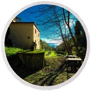 Niasca Hermitage I Portofino Park Passeggiate A Levante Round Beach Towel