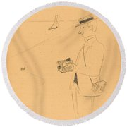 Nib Or The Amateur Photographer (nib Ou Le Photographe-amateur) [right Recto] Round Beach Towel