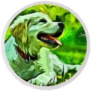 Nice Dog Round Beach Towel
