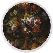 Nicolaes Van Veerendael Antwerp 1640 - 1691 Still Life Of Roses, Carnations And Other Flowers Round Beach Towel