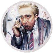 Nicolas Cage A Vampire's Kiss Watercolor Art Round Beach Towel by Olga Shvartsur