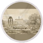 Nicolas-didier Boguet   1755 - 1839   View Of The Roman Forum With The Temple Of Castor Round Beach Towel
