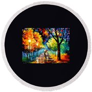 Night Alley Round Beach Towel