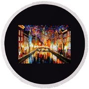 Night Amsterdam Round Beach Towel