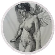 Night Angel Round Beach Towel