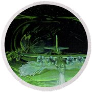 Night Angels Round Beach Towel