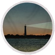 Night At Cape May Lighthouse Round Beach Towel