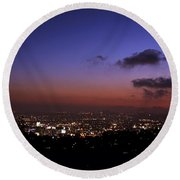 Night At Griffeth Observatory Round Beach Towel
