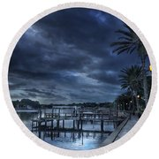 Night At The Bayou Round Beach Towel