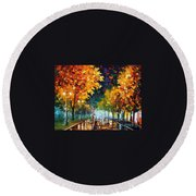 Night Autumn Park  Round Beach Towel