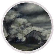 Night Barn Round Beach Towel