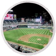 Night Baseball In Minneapolis Round Beach Towel
