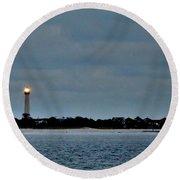 Night Beacon - Cape May Lighthouse Round Beach Towel