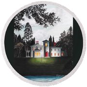 Italian House Country House Detail From Night Bridge  Round Beach Towel