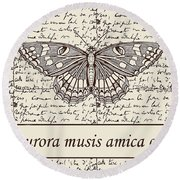 Night Butterfly On Old Letter Round Beach Towel