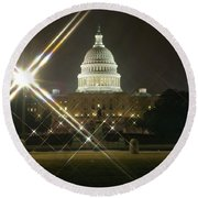 Night Capitol Round Beach Towel