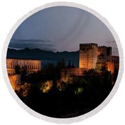 Night Comes To The Alhambra Round Beach Towel