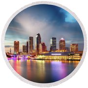 Night Downtown River Round Beach Towel