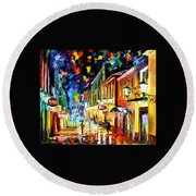 Night Etude - Palette Knife Oil Painting On Canvas By Leonid Afremov Round Beach Towel