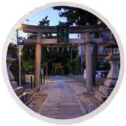 Night Falls On Esaka Shrine Round Beach Towel