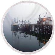 Night Fog Along The Dock Round Beach Towel