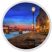 Night In Florence Italy Round Beach Towel