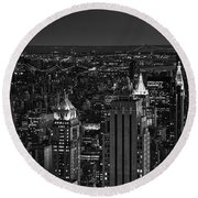 Night In Manhattan Round Beach Towel