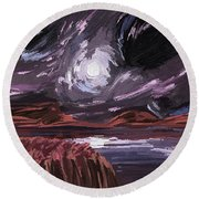 Night Land Round Beach Towel