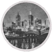 Night Landscape In Melbourne Round Beach Towel