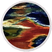 Night Lava #02 Round Beach Towel